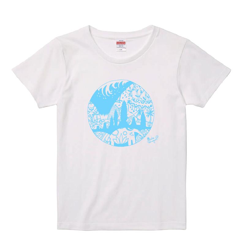 まわりめぐるハッピーTシャツ レディースホワイト