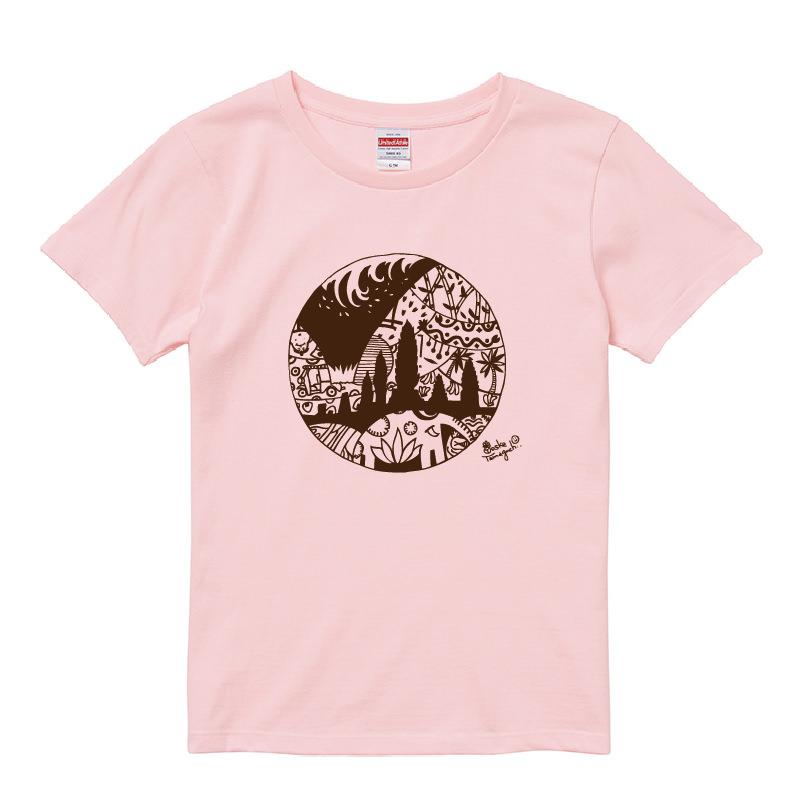 まわりめぐるハッピーTシャツ レディースベビーピンク