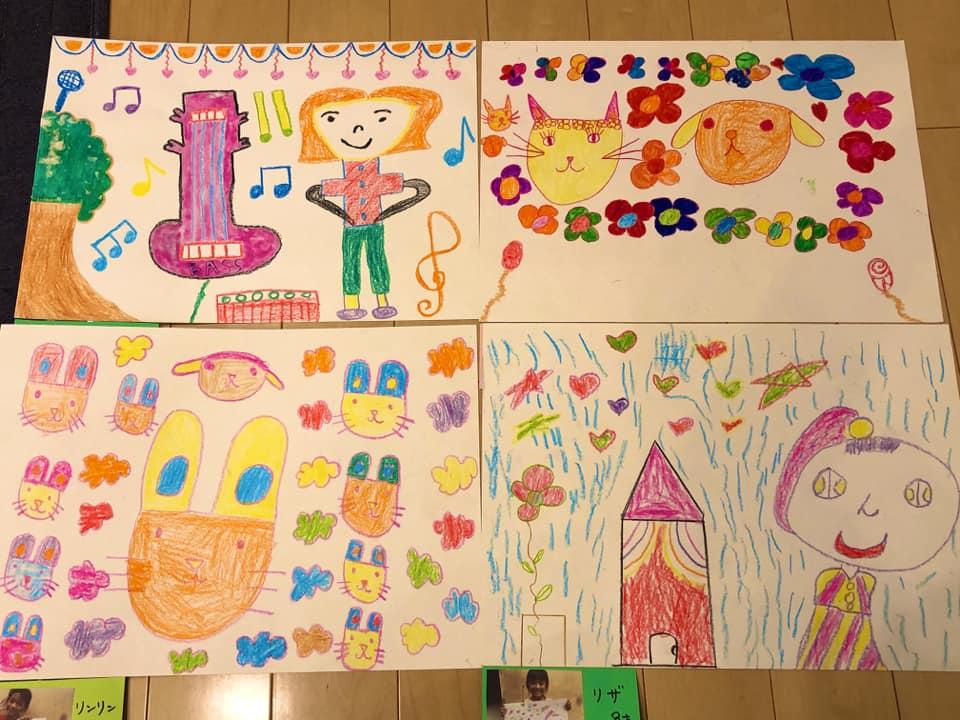 くっくま孤児院の 子どもたちの絵の展示